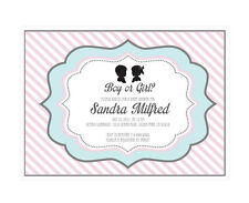 Gender Reveal PERSONALIZED Baby Shower Invitations - Set of 16