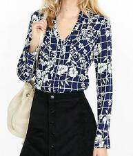 EXPRESS THE PORTOFINO BLOUSE L *NAVY FLORAL GRID* NWT