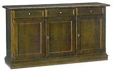 Mobile basso base 3 porte, cassetti,in arte povera, legno massello, credenza