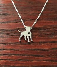 Standing Pit Bull w/Heart Cutout Sterling Silver Necklace - New - FREE SHIPPING