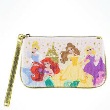 Disney Parks Princess Sequined Wristlet Clutch Purse Belle Ariel Rapunzel Castle