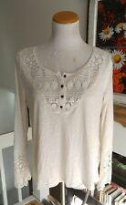 Hint of Mint juniors L large embroidered Peasant top shirt Lace Henley Ivory