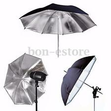 "43"" Inch Photography Studio Black Silver Reflective Umbrella Photo Light Studio"