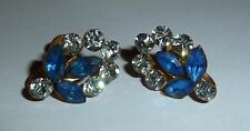 VINTAGE - DAINTY NAVETTE SAPPHIRE-BLUE & CLEAR RHINESTONE SCREW-ON EARRINGS