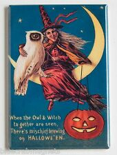 """Halloween """"Red Witch & Owl"""" FRIDGE MAGNET (2 x 3 inches)"""