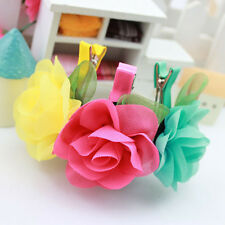 Baby Toddler Girl Rose Flower Hair Clips Preshool Party Head Accessories Gifts