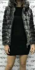 Pelliccia donna ecologica corta  con cappuccio Giubbino giacca blazer sintetica