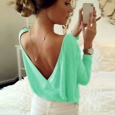 Oversized Women Backless Long Sleeve T-Shirt Blouse Jumper Pullover Casual Tops