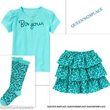 Nwt Gymboree girls 4 4T Ready Dress Go bon Jour Top Leopard Skort  3pc Set socks