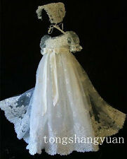 New Angel Baby Infant Baptism Gown Christening Dress Lace 2015 With Bonnet
