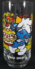Vintage 1983 Smurfs Glass BAKER SMURF