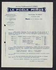"""PARIS (IX°) USINE d'AUBERVILLIERS & LA COURNEUVE ,LE POELE MIRUS """"E. JORIN"""" 1928"""