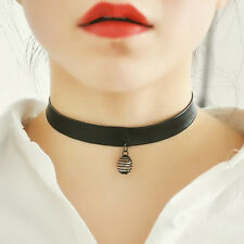 spiral Gothic Black Leather Punk Collar BEADED Necklace Choker Chunky Pendant