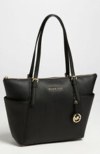 MICHAEL Michael Kor Jet Set BLACK Saffiano Leather Tote Bag $248+