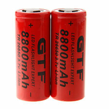 2pcs 3.7V 26650 8800mAh Li-ion Rechargeable Battery For LED Flashlight Torch-US