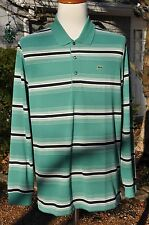 NWT LACOSTE LONG SLEEVE POLO RUGBY STRIPED $110 XL T7 TALL