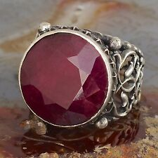 Silver Ring Ruby Men Sterling 925 natural gemstone Mens Jewelry Yaqoot Rubin