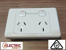Double Pole 10A Double Power Point GPO White  for Caravans Campers Motorhomes