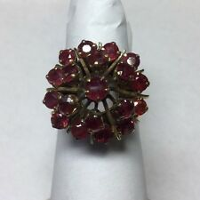 Beautiful Vintage 18Kt Yellow Gold Ruby Dome Ring Size 5.5
