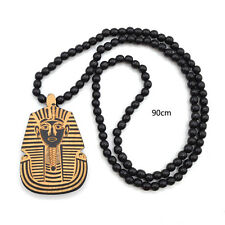 Wooden Egypt Pharaoh Carved Pendant Necklace Black Beads Chain Jewellery Unisex