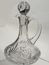 Hand Cut 24% Lead Crystal Mini Ships Decanter with Handle 1/8 Litre Capacity