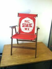 Vintage Hand Woven NC State Wolfpack Folding Rope & Wood Chair -Rare Unique