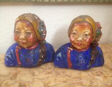 "VINTAGE PAIR 2 ESTHER HUNT ""STYLE"" CHALK WARE BUSTS BOOKENDS"