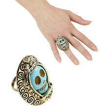 MEXICAN DAY OF THE DEAD SKULL RING WITH AZURE STONE JEWELLERY HALLOWEEN