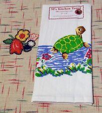 "Retro Vintage Style Cotton Flour Sack 50's Kitchen Towels with Bob ""the Turtle"""