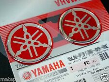 RED 2x YAMAHA GENUINE 100% S. 40MM TUNING FORK LOGO SILVER DECAL EMBLEM STICKER