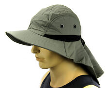Sun Flap Boonie Cap Bucket hat Ear Neck Cover Sun Protection Soft material-Olive
