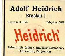 Adolf Heidrich Breslau PATENT ISIS GLÄSER RAUMWINKELMESSER Trademark 1908