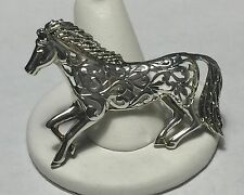 Vintage JEZLAINE JEZ Sterling Silver 925 Filigree Scroll HORSE Brooch Pin Signed