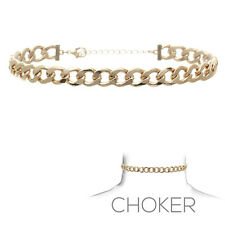 Fashion Women Jewelry Chain Link Choker Necklace Gold tone Metal Vintage
