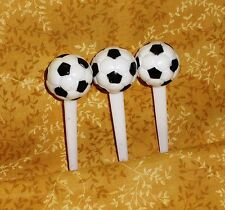 Soccer Ball Cupcake Picks,Plastic,Bakery Crafts,White,Cake Decoration,12 ct.
