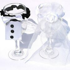 Toasting 2pcs Tux Bridal Veil Party Mark Wine Glass Decor Wedding Bride&Groom