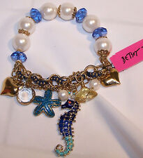 BETSEY JOHNSON RETIRED SEAHORSE STARFISH PEARL HEART Charm Stretch Bracelet NEW