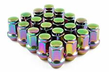 Capped Wheel Nuts STEEL - NEO CHROME/PETROL - M12 x 1.5 Toyota Mitsubishi Honda