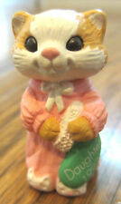 Hallmark Merry Miniatures 1992 Daughter Kitten Cat With Stocking In Pink Pjs