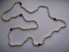 """34"""" De culture Perle Blanche Collier Guirlande avec Corail perles"""