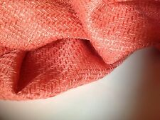 "Designer Peach Colour Wool Boucle Fabric As Seen On Catwalk 153cm 60"" CH Weave"
