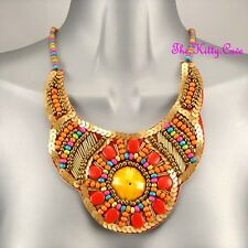 Gold & Bright Orange Red Ethnic Tribal Celebrity Statement Bib Collar Necklace