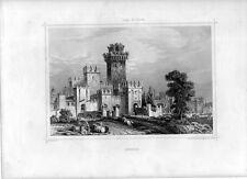 Stampa antica Castello di SIRMIONE Lago di Garda 1852 Old print