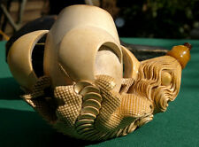 """Large Antique Carved Meerschaum Eagle Dragon Claw Pipe C1880 and Case   3""""Tall"""