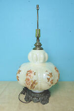 Bubble Lamp cream color brown tan gold flowers and leaves little bubbles brushed