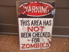FUNNY A5 LAMINATED ZOMBIE AREA WARNING SIGN