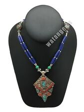 Ethnic Tribal Lapis,Amber,Turquoise & Red Coral Inlay Statement Necklace,NPN112