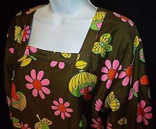 Vtg 60s DESiGN HOUSE Japan mod flower power mushroom smock apron dress top S M