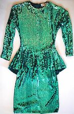 Vintage Oleg Cassini Sequin Dress Green Size 6 WOW!!