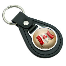 Vintage Canadian Flag - Canada Black Leather Metal Keychain Key Ring